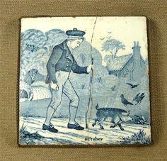 "Josiah Wedgwood ""Old English"" Blue White Tile ""October"" in Metal Trivet Stand   eBay"