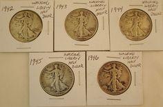 Lot of 5 Walking Liberty Half Dollars 1942,43,44,45,46 Ungraded 90% silver #silver #libertywalking