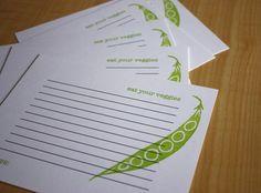 Peapod  Eat Your Veggies  Handmade Recipe Cards  by pinkbathtub, $4.50
