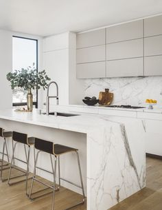 Kitchen Interior Design Remodeling Noe Valley Modern, Kitchen, San Francisco, CA - 10 Jaw-Dropping Interiors by Jean-Louis Deniot Kitchen Marble, Home Decor Kitchen, Kitchen Remodel, Contemporary Kitchen, Kitchen Room Design, White Modern Kitchen, Minimalist Kitchen, Kitchen Renovation, Kitchen Design