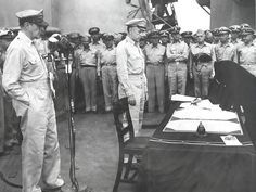 Japan surrenders as a result of the atomic bombing of Hiroshima and Nagasaki.  Foreign Minister Mamoru Shigemitsu signs unconditional surrender.  Photo courtesy of LANL