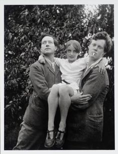 Angelica Bell in the garden at Charleston with her father Duncan Grant (left) and brother Quentin Bell (right).