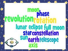 This study guide, corresponding quiz, answer key, and wordle cover the movement of the earth, moon, and sun for third grade science. These words are included: star, sun, moon, earth, axis, rotation, revolution, phase, lunar eclipse, constellation, full moon, and telescope.