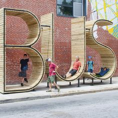 Talk about form revealing function! Baltimore's bus system gets a brand new stop and meeting point in the form of three giant wood-and-steel letters spelling out B-U-S. The unique shelter came out of Baltimore's new creative #Placemaking program to spark dialogue around transit's relation to the built environment. #LQC #Transit