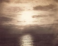 Gustave Le Gray, Seascape, 1855. One of my favourites. It looks so simple but the sun makes it look so beautiful.