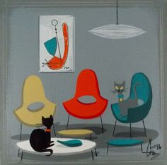 EL GATO GOMEZ PAINTING RETRO MID CENTURY MODERN EAMES KNOLL CATS 1950S 1960S #Modernism