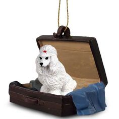 Elegant Hand Painted White Poodle Traveling Companion Crafted in a Suitcase