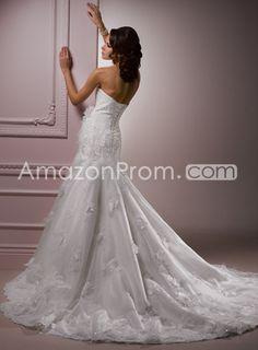 US $242.69 Gorgeous Trumpet/Mermaid Strapless Sleeveless Floor-Length Chapel Embroidery & Appliques Wedding Dresses