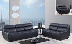 4030 Sofa Set - Black/Bonded Leather with Metal Legs
