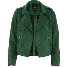 River Island Petite green faux suede cropped biker jacket ($120) ❤ liked on Polyvore featuring outerwear, jackets, petite moto jacket, motorcycle jacket, side zipper jacket, petite jackets and green jacket