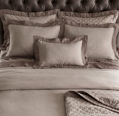 Stonewashed Belgian Linen Satin Stitch Bedding Collection