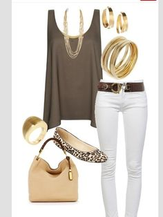 Summer Ready!!! - White jeans, brown top , gold jewelry!! Love this combination!!
