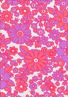 Vintage Fabric 1960s Retro Pink Orange Floral Fat Quarter Flower Power Cotton