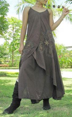robe taupe longue