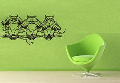 3 Owls on Tree Sticker Wall Vinyl Owl Bird See Talk Mural Decal Decor Gift #264 #HomeOfStickers