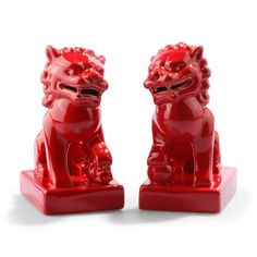 Red foo dogs!  #foodogs #red #decor