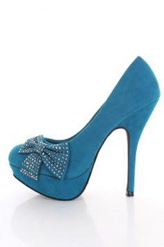 $28.99  Teal Faux Suede Studded Petite Bow Platform Stiletto Heels Pumps