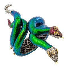 Lotus Arts de Vivre Pair of Gem-Set Snake Bangle Bracelets