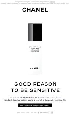 Our email of the week goes to CHANEL for their less is more, minimalist 'LA SOLUTION 10 DE CHANEL' email! #EOTW #CHANEL #emailmarketing
