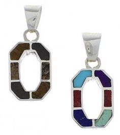 Multicolor Inlay And Sterling Silver Reversible Pendant Jewelry NX29607