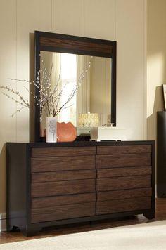 Echo Contemporary Black Dark Oak Wood MDF Dresser