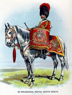 British; 2nd Dragoons, Royal Scots Greys, Kettledrummer c.1912 from Bands of the British Army by W.J. Gordon and illustrated by F. Stansell