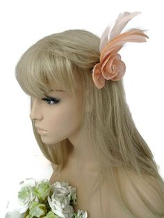 24d8348600fcc Elegant Small Pale Peach Fascinator Hair Grip Flower Design with Diamante