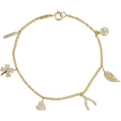 Jennifer Meyer 18-karat gold diamond bracelet (£2,925) ❤ liked on Polyvore featuring jewelry, bracelets, gold, clover charm, charm jewelry, diamond bangles, four leaf clover jewelry and four leaf clover charm