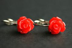 Red Rose Dangle Earrings. Red Flower Earrings. Rose Earrings. Red Earrings. Silver Lever Back Earrings. Flower Jewelry. Handmade Jewelry. by StumblingOnSainthood from Stumbling On Sainthood. Find it now at http://ift.tt/2dLMKzw!