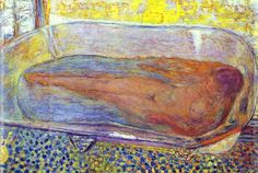 Pierre Bonnard- lovely floating bathtub effect. figure and ground are given a similar treatment.