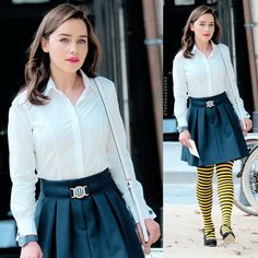 Emilia Clarke as 'Louisa Clark' in the book adaption 'Me Before You' (2016) -- I LOVE this outfit (not so keen on the bumblebee tights, though...)