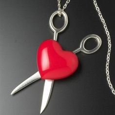 Back in stock!  Tina Lilienthal Scissors and Heart Necklace £185