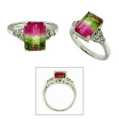 CR2573 Watermelon Tourmaline Ring