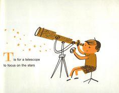 'Space Alphabet' illustration by Peter P. Space Theme Preschool, Make Do And Mend, Alphabet Book, Children's Literature, Modern Graphic Design, Children's Book Illustration, Vintage Children, Childrens Books, Character Design