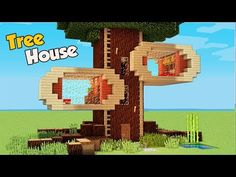 Minecraft: How To Build A 4 Players Tree House Tutorial (Easy) - Minecraft Servers Web - MSW - Channel Minecraft Mods, Minecraft Villa, Video Minecraft, Minecraft Structures, Minecraft Mansion, Minecraft House Tutorials, Cute Minecraft Houses, Amazing Minecraft, Minecraft Tutorial