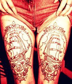 Ships on both legs Body Tattoos, Life Tattoos, Ship Tattoos, Frame Tattoos, Great Tattoos, Beautiful Tattoos, Piercing Tattoo, I Tattoo, Tattoos Gallery