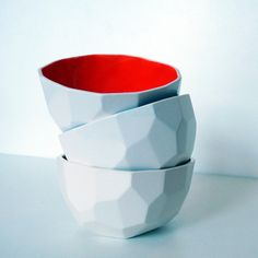 Modern ceramic bowl handmade in polygons - Poligon bowl - Blue. €15.50, via Etsy.