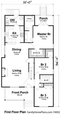 Bungalow style home plan diagram with small front porch from Family Home Plans 74002