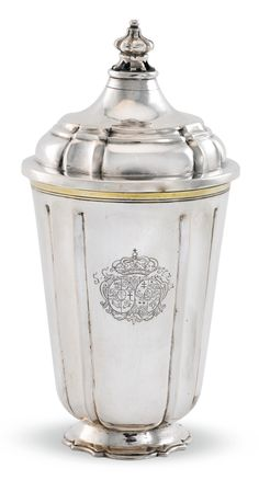 LORENTZ JOHANN RÖPER GERMAN LARGE PARCEL-GILT SILVER BEAKER AND COVER engraved with two coats-of-arms below a coronet flanked by the initials S.C and H.Z.M 24cm, 9 1/2 in high 512gr, 16oz 6dwt Rostock, 1720
