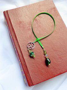 Luck of the Irish -- Ribbon Bookmark -- Book Thong -- Beaded Book Thong -- Beaded Bookmark -- Emerald Green -- Bibliophile
