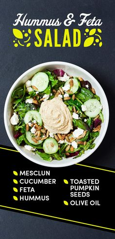 Hummus already includes olive oil, but an extra drizzle of it over your salad will bring all the ingredients together.