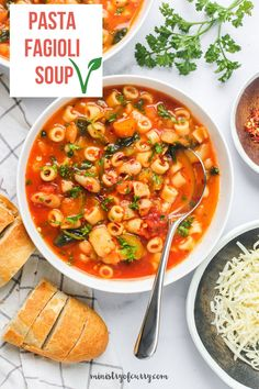Pasta e Fagioli is a hearty Italian pasta with beans soup. Cooked in a perfectly seasoned tomato based broth, vegetables and pasta, this wholesome one-pot meal makes a delicious weeknight dinner. Best of all this favorite vegetarian soup is ready in under 30 minutes using this easy Instant Pot recipe. #ministryofcurry #italian Hearty Soup Recipes, Delicious Dinner Recipes, Indian Appetizers, Appetizer Recipes, Christmas Recipes, Thanksgiving Recipes, Pasta E Fagioli Soup, Ground Meat Recipes, Easy One Pot Meals
