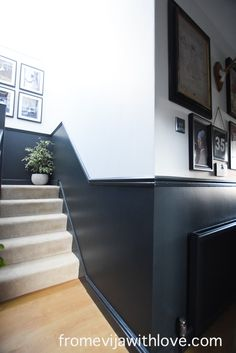 Hallway REVEAL: Creating a Modern and Timeless Space - From Evija with Love Dado Rail Hallway, Dark Hallway, Modern Hallway, Entrance Hall Decor, Hallway Ideas Entrance Narrow, Narrow Hallway Decorating, Stair Paneling, Stair Walls, Panelling