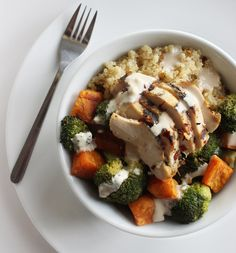 Pin for Later: 29 Ways to Cook Your Favorite Lean Protein: Boneless, Skinless Chicken Breasts Chicken and Vegetable Quinoa Bowl Get the recipe:  chicken and vegetable quinoa bowl with tangy tahini dressing