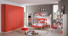 50 Amazing Boys and Girls Room Designs – Unoxtutti from Giessegi: 50 Amazing Boys And Girls Room Designs – Unoxtutti From Giessegi With Grey Wall And Big Red Wooden Wardrobe And Bed Design