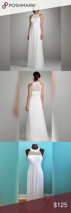 DB Studio White Halter Wedding Dress Halter white wedding dress with beaded neckline. Slight signs of wear around the neckline with missing beads (as pictured). Dress otherwise in great condition. Purchased from David's Bridal. Unaltered. JH1M4428 db Studio Dresses Wedding