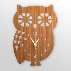 Handmade bamboo owl clock