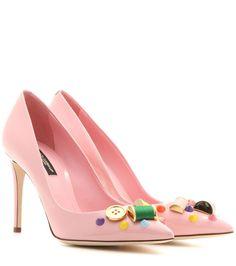 Embellished pink leather pumps