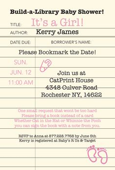 Build your baby's library with this adorable shower invitation. CatPrint design #1029