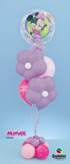 This balloon bouquet with a Minnie Mouse Bubble Balloon*, Spring Lilac Geo Blossom flowers** and pink latex** is perfect for the birthday girl!  *Disney licensed product **Not a Disney licensed product ©Disney #disney #minnie #balloon #qualatex